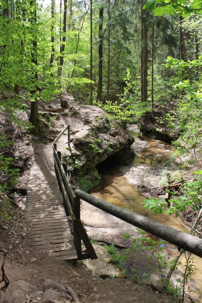 Familienwanderung entlang der Bitterbachschlucht bei Lauf an der Pegnitz im Nürnberger Land